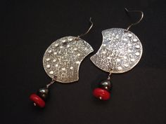 Crescent Handmade Silver Earrings Dangle Drop by AnnaRecycle