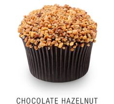 Valrhona chocolate cupcake with a rich  Callebaut chocolate ganache icing topped with caramelized hazelnuts