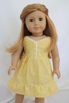 Floral Summer Dress for American Girl Dolls by pippaloo on Etsy Original American Girl Dolls, Custom American Girl Dolls, American Girl Dress, American Girl Clothes, American Dolls, Ag Doll Clothes, Doll Clothes Patterns, Coat Patterns, Doll Fancy Dress