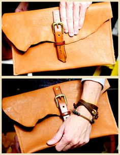 4/27/15 vegetable leather clutch with buckle as functional closure