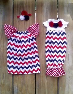 Patriotic Chevron dress 4th of July outfit by MudanBlossoms, $29.00