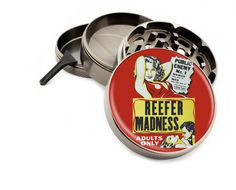 "Reefer Madness Vintage Movie Poster 4 Piece Large Silver Metal or Zinc Titanium Grinder 2.5"" Wide Herb Adults Retro Anti-Weed Film PinUp by Swagstr on Etsy"