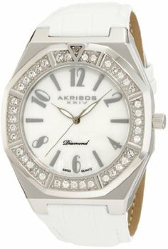 Akribos XXIV Men's AKR490SS Swiss Quartz Diamond Mother-Of-Pearl Watch Akribos XXIV. $109.00. Genuine diamond and crystals decorate the stainless steel bezel. Watch is powered by a precise swiss quartz movement. This watch is water resistant to 165ft and comes complete with a 2 year manufacturer?s warranty.. Genuine calfskin leather strap with engraved tang buckle. Silver tone arabic numerals adorn the mother-of-pearl dial