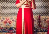caftan marocain élégante mobra rouge