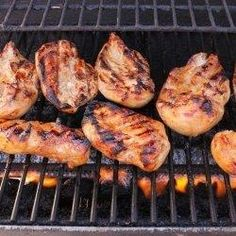 Balsamic Grilled Chicken Recipe - 1/4 cup Balsamic Vinagrette (can substitute balsamic vinegar for a stronger taste), 1/4 cup Soy Sauce, 1 tsp Thyme, 1/2 tsp Ground Pepper, 1 1/2 tbsp Brown Sugar,4 Boneless Skinless Chicken Breasts. Place all ingredients in zip bag for at least 1 hour and grill.