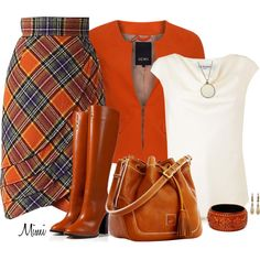 Tartan & Tall Boots by stylesbymimi on Polyvore featuring polyvore, fashion, style, L.K.Bennett, Ichi, Chloé, Dooney & Bourke, Fantasy Jewelry Box, Tracy Reese and Kate Spade