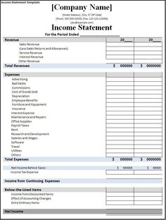Basic Income Statement Example and Format | small business ...