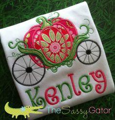 Princess Pumpkin Carriage Personalized Applique T-Shirt-Birthday-Dress Up-Diva- Fairytale