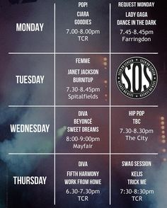 Check out all the amazing SOS routines you have to look forward to next week... pack your dance kit and see you there #SOSCrew! #Beyoncé #FifthHarmony #Ciara #JanetJackson #LadyGaga #Kelis by Zurvita Zeal Wellness
