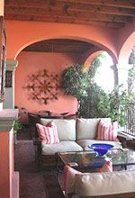 Spanish Hacienda Terrace. relax in a comfy couch while still enjoying the fresh outdoors