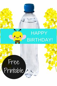 Use this free printable bumble bee water bottle label to help decorate your bumble bee birthday party. It is a cheap and easy way to make your water bottle pretty and also a good bumble bee food table idea for you. Simply cut and print to make a bumble bee birthday party diy. Be sure to save this bumble bee water bottle wrapper for later! Take a look at our blog, VanahLynn.com to see llama birthday cakes and princess smash cake ideas.