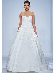 Dennis Basso Princess/Ball Gown Wedding Dress with Sweetheart Neckline and Natural Waist Waistline