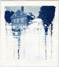 "Annie Hogan I Bloodlines, Berkeley Plantation, James River, VA, 2012  14 x 12"", Pinhole negative and Cyanotype on 300gsm Arches watercolor paper."
