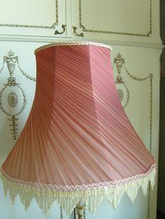 Large Vintage French Chiffon Pink Coral Rust Lampshade Boho Shabby Chic | eBay