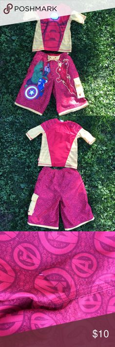 Disney Store Iron Man Swim Shorts & Rash Guard 7/8 Disney Store Iron Man Swim Shorts & Rash Guard 7/8 wore there is a snag in the back of the swim shorts look at photo for better description smoke free home any questions please ask Disney Store  Swim Swim Trunks