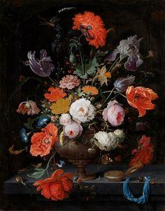 muurdecoratie wanddecoratie schilderij kunst rijksmuseum bloemstilleven horloge abraham mignon