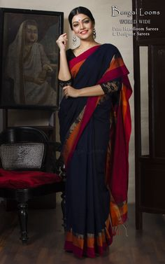 Khadi Cotton Saree in Navy Blue, Red and Orange Elegant Indian Sarees Click VISIT link to see Elegant Saree, Elegant Dresses, Nice Dresses, Bengali Saree, Indian Sarees, Pakistani, Phulkari Saree, Salwar Kameez, Kurti