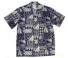 Rock Wall Men's Two Palms design is created in Red and Navy Blue.  MauiShirts search box stock number: 501C-Rock-Wall