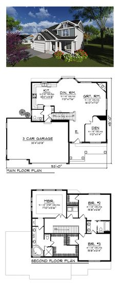 New House Plan 75241 | Total Living Area: 2386 sq. ft., 3 bedrooms and 2.5 bathrooms. #newhouseplan