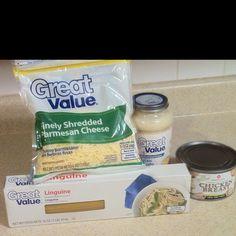4 simple ingredients from Walmart ! = 1 Yummy meal !  Chicken Fettuccine Alfredo