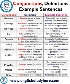 Conjunctions, Definitions and Example Sentences - English Study Here Teaching English Grammar, English Grammar Worksheets, English Writing Skills, English Vocabulary Words, Grammar And Vocabulary, Grammar Lessons, English Language Learning, English Homework, Grammar Posters