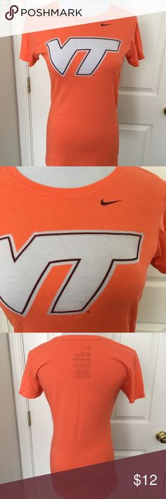 Nike VT T-shirt Virginia Tech T-shirt by Nike. Bright orange color and soft feel for a comfortable wear. Size small slim fit. Show your Hokie spirit with this great top! Great condition. Nike Tops Tees - Short Sleeve