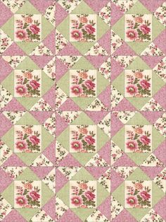 This is a cute easy to sew quilt kit with pre-cut pieces for 12 quilt blocks. There are beautiful fussy cut flower bouquets. Fabric prints have soft pinks, cream, green and gold. Fabrics in this kit a