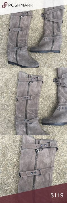 Women's ASH Grey Leather Tall Wedge Boots Size 8.5 Women's ASH Grey Leather Tall Wedge Zip Up Boots Size 8.5/38.5. Style is called Story. Excellent Condition Ash Shoes Heeled Boots