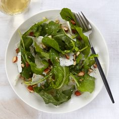 Arugula Salad with Ricotta Salata | For this crunchy, nutty salad, Lidia Bastianich likes to use dandelion greens, which aren't always easy to find. For the home cook, arugula stands in for the elusive dandelion greens.