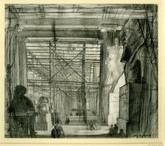 The Egyptian Saloon, British Museum; view looking along the length of the room filled with scaffolding, two heads of Ramses at r, two lions (?) at l, with groups of figures Graphite