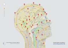 Deutsche Akademie für Akupunktur: Head  Knowing where the healing is. To help people find out where to find a cure, McCann Berlin leads them to the online service of the German Academy for Acupuncture / DAA e.V. Loosely inspired by Google maps, McCann developed a print campaign showing maps of body parts featuring a number of points to be stimulated in acupuncture to get rid of internal disturbances.