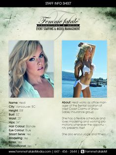 Book our fabulous female models in Toronto or Montreal to brighten up your event! Femme Fatale Media roster consists of beautiful and energetic models who are able to present your brand or event in a one-of-a-kind way! Love And Hip, Promotional Model, Group Insurance, Guy Names, Female Models, Vancouver, Cards, Girl Models, Women Models