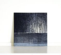 Etching Print / Landscape Art / Navy Blue Home by ElviaPerrin,