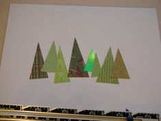 Easy, minimal DIY Christmas tree gift card from triangles of scrapbook or wrappping paper