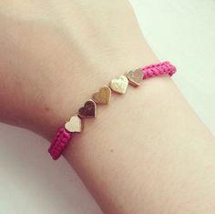 Pink,Wax,Cord,Heart,Bracelet Diy Jewelry, Beaded Jewelry, Jewelery, Fashion Jewelry, Jewelry Making, Hippie Bracelets, Macrame Bracelets, Cute Crafts, Heart Bracelet