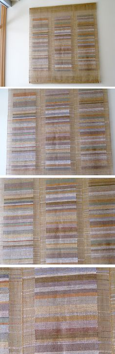 """Commissioned wall piece of linen leno-weave and silk inlays. Woven in 3 panels and stitched together.  Aprx. 54"""" x 60"""" x 2""""  M.Clifford"""