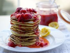 meyer lemon ricotta pancakes with macerated strawberry coulis | a cup of mascarpone