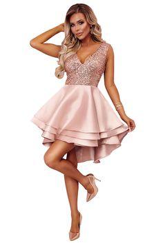 Luxe Satin Black Gold Sequin Top Her Fashion V-Neck Skater Mini Dress Gold Dama Dresses, Rose Gold Quinceanera Dresses, Hoco Dresses, Homecoming Dresses, Girls Dresses, Rose Gold Dresses Short, Skater Dresses, Mini Dresses, Short Evening Dresses
