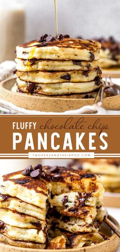 Chocolate Chip Pancakes are light and fluffy homemade pancakes dotted with chocolate chips. This Mother's day brunch food idea is also the perfect breakfast for any occasion! Save this yummy food! Fun Easy Recipes, Yummy Recipes, Easy Meals, Yummy Food, Chocolate Chip Pancakes, Chocolate Chips, Brunch Food, Brunch Recipes, Cupcake Recipes
