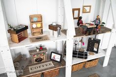 Reclaimed barbie doll house from a bookshelf  / Upcycled dollhouse furniture! On FunkyJunkInteriors.net