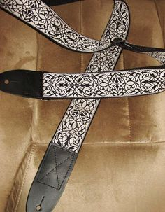 Intricate Pattern Embroidered Jacquard GUITAR STRAP by ScentedSoftandSewn on Etsy