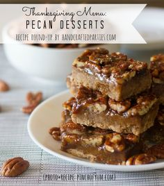 Thanksgiving desserts recipe round-up: pecan  {Handcrafted Parties}