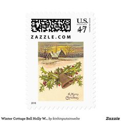 Winter Cottage Bell Holly Winterberry Snow Postage Stamp