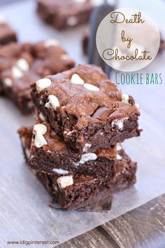 Death by Chocolate Cookie Bars by I Dig Pinterest & 5 other Chocolate Brownies Recipes