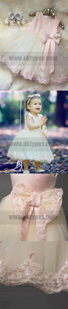 Pink Cheap Sleeve Long Flower Girl Dresses With Bow, Cute Flower Girl – Oktypes Cute Flower Girl Dresses, Girls Dresses, Long Flowers, Cheap Kids Clothes, Dress With Bow, Dream Dress, Retro, Dress Making, Kids Outfits