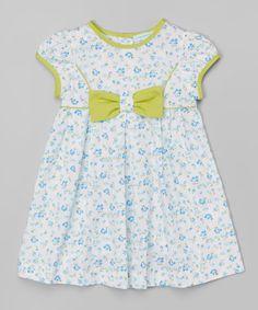 Blue & Lime Green Bow Cap-Sleeve Dress - Infant & Toddler
