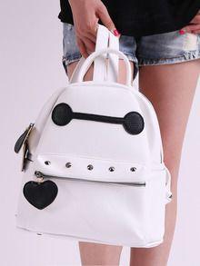 White Baymax Pattern Rivet Backpacks