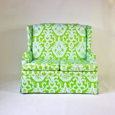 Blue and Green Ikat Settee from Furbish Studio Decorative Accessories, Home Accessories, Ikat Print, Take A Seat, Vintage Market, Dream Decor, Cool Furniture, Furniture Ideas, Home Furnishings