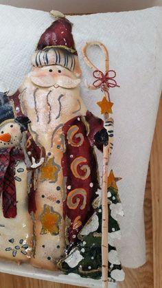 Tin Santa Snowman Christmas Tree Metal Tea Light Votive Holder Rustic Primitive