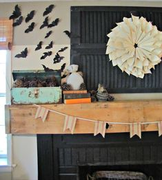 Top 10 Halloween Mantel Ideas - love this batty mantel! eclecticallyvintage.com